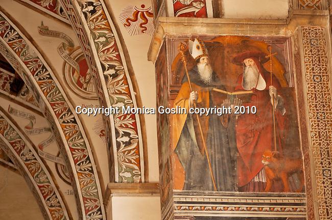 A 15th century fresco of Saints in the Santa Maria delle Grazie Church in Gravedona, a town on Lake Como Italy