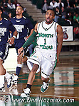North Texas Mean Green guard Dominique Johnson (1) in action in the game between the Jackson State Tigers and the University of North Texas Mean Green at the North Texas Coliseum,the Super Pit, in Denton, Texas. UNT defeated Jackson 68 to 49