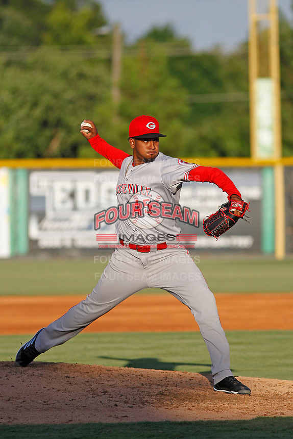 Greeneville Reds pitcher Alexis Diaz (45) on the mound  during a game against the Burlington Royals at the Burlington Athletic Complex on July 7, 2018 in Burlington, North Carolina. Burlington defeated Greeneville 2-1. (Robert Gurganus/Four Seam Images)