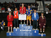 Garrett Morabito (1st - Susquehanna Valley); Brian Kampnich (2nd - Immaculate Heart); Eric Valez (3rd - Medina); Genta Murayama (4th - Edgemont); Bucky Hendrickson (5th - Letchworth); and Mark Gillen (6th - Johnstown) pose on the podium for the Division Two 125 weight class during the NY State Wrestling Championship finals at Blue Cross Arena on March 9, 2009 in Rochester, New York.  (Copyright Mike Janes Photography)