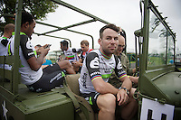 Mark Cavendish (GBR/DimensionData) &amp; teammates getting ready for the Grand D&eacute;part - Official Teams Presentation in the historic village of Sainte-M&egrave;re-Eglise<br /> <br /> 103rd Tour de France 2016