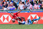 Tavite Veredamu of France (R) fights against Harry Jones of Canada (L) during the HSBC Hong Kong Sevens 2018 Bowl Final match between Canada and France on 08 April 2018, in Hong Kong, Hong Kong. Photo by Marcio Rodrigo Machado / Power Sport Images