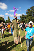 2016 09 18<br /> Pictured: Performers as gamekeepers on stilts, The Great Pyjama Picnic, Bute Park, Cardiff.Sunday 18 September 2016<br /> Re: Roald Dahl&Otilde;s City of the Unexpected has transformed Cardiff City Centre into a landmark celebration of Wales&Otilde; foremost storyteller, Roald Dahl, in the year which celebrates his centenary.