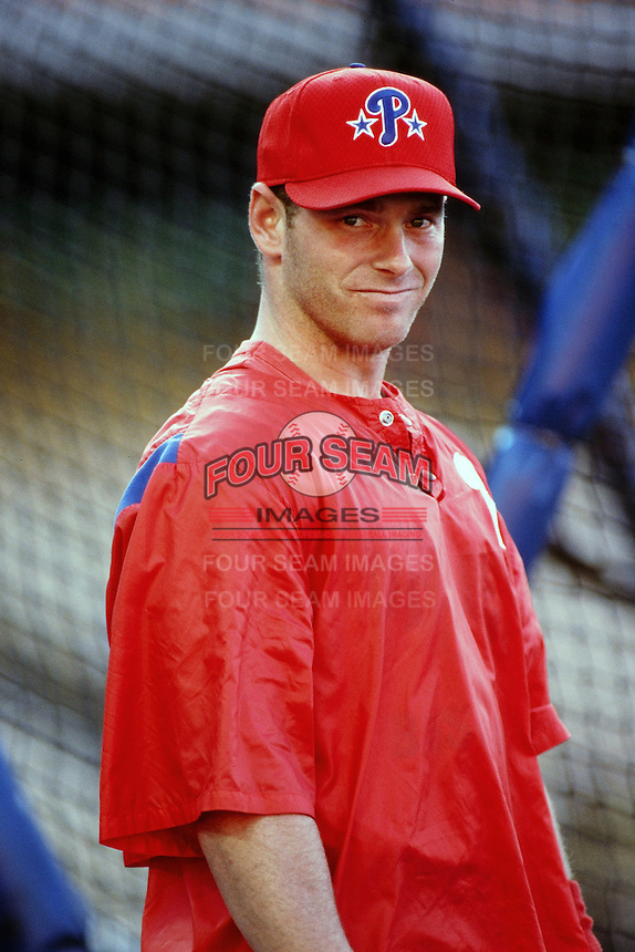 Mike Lieberthal of the Philadelphia Phillies during a game against the Los Angeles Dodgers at Dodger Stadium circa 1999 in Los Angeles, California. (Larry Goren/Four Seam Images)