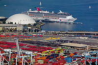 aerial photograph of containers and cranes at the Port of Long Beach with the Carnival Cruise ship Pricess docked at the Long Beach Cruise Terminal in the background, Long Beach, Los Angeles County, California.