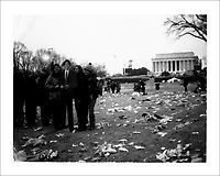 Inauguration.  Crowds on the Mall on the north side of the reflecting pool.  ..Crowds of people wait to see President Elect Barack Obama near the reflecting pool of the Lincoln Memorial for the 'We Are One: Inaugural Ceremony at the Lincoln Memorial.'  In addition to Obama, the event featured celebrities like Bono and Stevie Wonder.