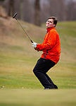 WATERTOWN,  CT-041119JS13-  Watertown's Ian Wivestad reacts as his putt comes up short during their match with Torrington Thursday at Crestbrook Park in Watertown. <br /> Jim Shannon Republican American