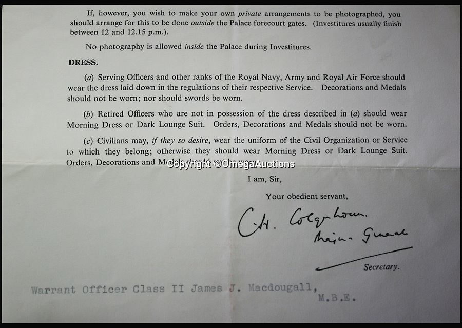 BNPS.co.uk (01202 558833)<br /> Pic: OmegaAuctions/BNPS<br /> <br /> ***Please Use Full Byline***<br /> <br /> The MBE letter signed by the Beatles. Est: £10,000.<br /> <br /> An invitation signed by all four members of The Beatles when a soldier sidled up to them at Buckingham Palace is going up for auction.<br /> <br /> The one of a kind piece of music memorabilia belonged to Warrant Officer Class II James J. Macdougall.