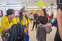 Welcome home / Christian Geiger and Melissa Perrine<br /> PyeongChang 2018 Paralympic Games<br /> Australian Paralympic Committee<br /> Sydney International Airport<br /> PyeongChang South Korea<br /> Tuesday March 20th 2018<br /> &copy; Sport the library / Jeff Crow
