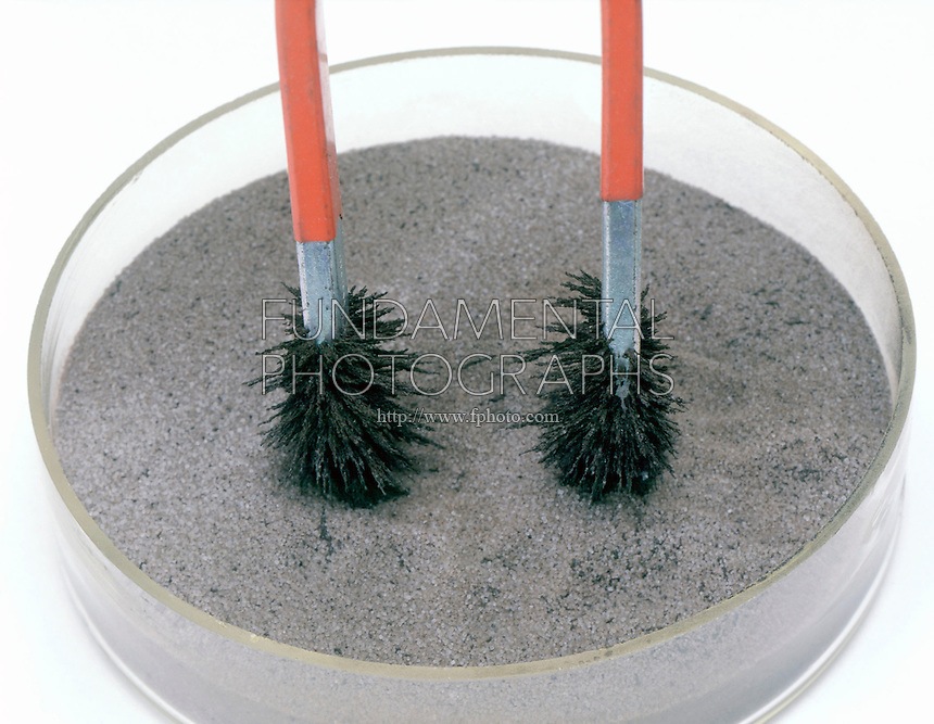 science physics magnet iron filings attraction ...