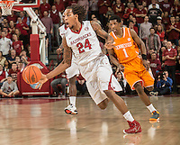 NWA Democrat-Gazette/ANTHONY REYES &bull; @NWATONYR<br /> Michael Qualls, Arkansas junior, drives up the court against Tennessee in the second half Tuesday, Jan. 27, 2015 at Bud Walton Arena in Fayetteville. The Razorbacks won 69-64.