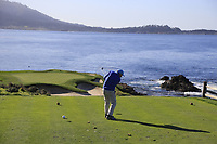 Gerry McManus (IRL) tees off the par3 7th tee during Sunday's Final Round of the 2018 AT&amp;T Pebble Beach Pro-Am, held on Pebble Beach Golf Course, Monterey,  California, USA. 11th February 2018.<br /> Picture: Eoin Clarke | Golffile<br /> <br /> <br /> All photos usage must carry mandatory copyright credit (&copy; Golffile | Eoin Clarke)