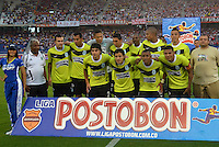 BARRANQUIILLA -COLOMBIA-01-09-2013. Jugadores del Nacional posan para los fotógrafos antes del partido ante Junior válido por la fecha 8 de la Liga Postobón II 2013 jugado en el estadio Metropolitano de la ciudad de Barranquilla./ Nacional players pose to the photographers prior a match against Junior valid for the 8th date of the Postobon League II 2013 played at Metropolitano stadium in Barranquilla city.  Photo: VizzorImage/Alfonso Cervantes/STR