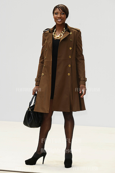athalete, Denise Lewis arrives for the Burberry Prorsum SS'12 catwalk show in Kensington Gardens as part of London Fashion Week..19/09/2011  Picture by Steve Vas/Featureflash