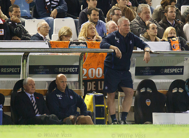 Ally McCoist watching on as he leans on the dugouts