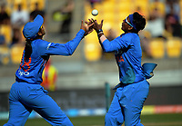 India's Deepti Sharma (right) takes a catch during the international women's Twenty20 cricket match between the NZ White Ferns and India at Westpac Stadium in Wellington, New Zealand on Wednesday, 6 February 2019. Photo: Dave Lintott / lintottphoto.co.nz