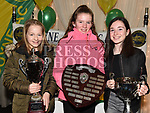 Meave Nolan, Caer Nighlune and Eabha Cosgrove at the Boyne AC awards night in the Westcourt Hotel. Photo:Colin Bell/pressphotos.ie