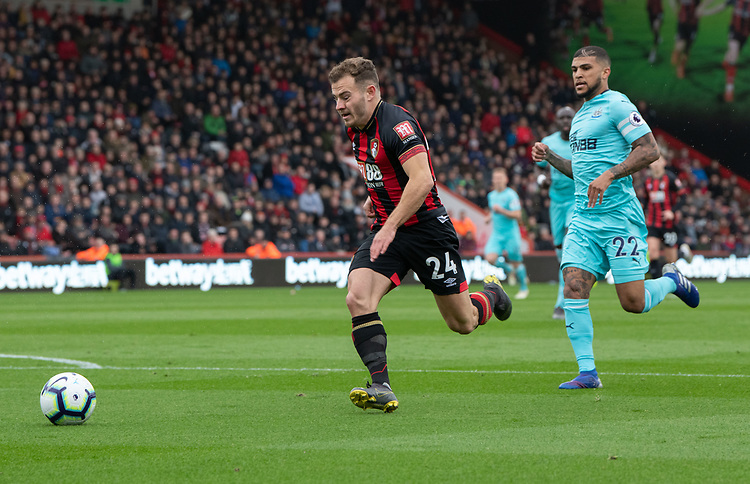 Bournemouth's Ryan Fraser (left) <br /> <br /> Photographer David Horton/CameraSport<br /> <br /> The Premier League - Bournemouth v Newcastle United - Saturday 16th March 2019 - Vitality Stadium - Bournemouth<br /> <br /> World Copyright © 2019 CameraSport. All rights reserved. 43 Linden Ave. Countesthorpe. Leicester. England. LE8 5PG - Tel: +44 (0) 116 277 4147 - admin@camerasport.com - www.camerasport.com