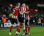 Oli McBurnie of Sheffield Utd celebrates scoring a goal during the Premier League match at Bramall Lane, Sheffield. Picture date: 10th January 2020. Picture credit should read: Chloe Hudson/Sportimage