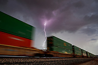 Lightning, storm, storm chasing, storm chaser, Arizona, weather, clouds, desert, mountains, rain, monsoon, train, tracks, traintracks