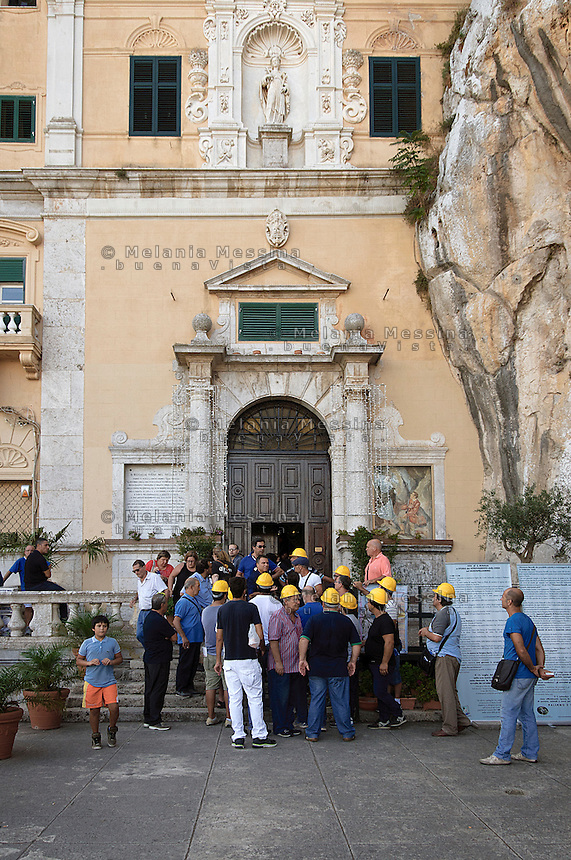 Palermo, sanctuary of Saint Rosalia,workers loosing their job while visiting the sanctuary of Saint Rosalia asking for help to the saint .<br />
