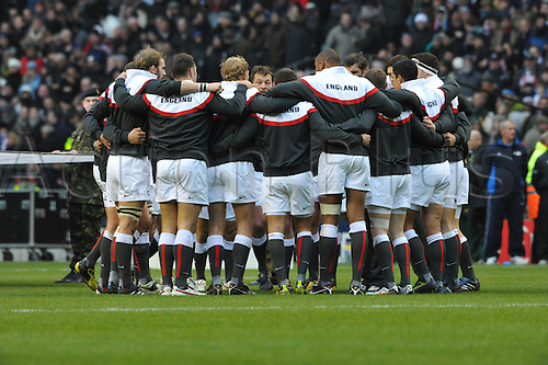 27.11.10  iEngland huddle during the Investec rugby  International between England and South Africa at Twickenham Stadium London