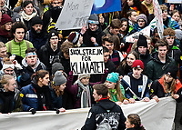 GERMANY, Hamburg city, Fridays for future movement, Save the Climate rally with 30.000 protesters for climate protection, in first row, swedish activist Greta Thunberg with her banner skolstrejk för klimatet, / DEUTSCHLAND, Hamburg, Fridays-for future Bewegung, Demo fuer Klimaschutz, Greta Thunberg mit ihrem Plakat skolstrejk för klimatet, 21.2.2020