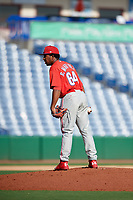 Philadelphia Phillies pitcher Robinson Martinez (64) looks in for the sign during a Florida Instructional League game against the New York Yankees on October 12, 2018 at Spectrum Field in Clearwater, Florida.  (Mike Janes/Four Seam Images)