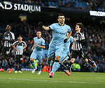 Sergio Aguero of Manchester City celebrates scoring the first goal from a penalty - Barclays Premier League - Manchester City vs Newcastle Utd - Etihad Stadium - Manchester - England - 21st February 2015 - Picture Simon Bellis/Sportimage