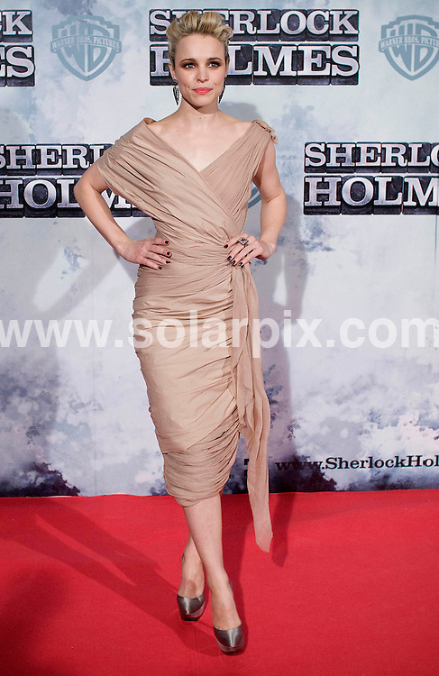 **ALL-ROUND PICTURES FROM SOLARPIX.COM**.**WORLD SYNDICATION RIGHTS EXCEPT BELGIUM, GERMANY, HOLLAND, SCANDINAVIA, SOUTH AMERICA, SPAIN, & USA**.Sherlock Holmes photocall in Madrid, Spain. 13 January 2010..This pic: Rachel Mcadams..JOB REF: 10462 SKX      DATE: 13_01_2010.**MUST CREDIT SOLARPIX.COM OR DOUBLE FEE WILL BE CHARGED**.**MUST NOTIFY SOLARPIX OF ONLINE USAGE**.**CALL US ON: +34 952 811 768 or LOW RATE FROM UK 0844 617 7637**