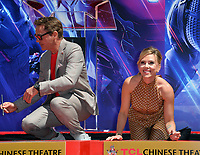 """LOS ANGELES, USA. April 23, 2019: Robert Downey Jr. & Scarlett Johansson at the handprint ceremony for the cast of """"Avengers: Endgame"""" at the TCL Chinese Theatre.<br /> Picture: Paul Smith/Featureflash"""
