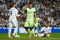 Manchester City´s forward Sergio Aguero<br /> lamenting during the UEFA Champions League match between Real Madrid and Manchester City at the Santiago Bernabeu Stadium in Madrid, Wednesday, May 4, 2016.