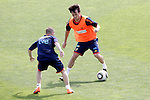 MADRID (25/05/09).- The Spanish Soccer national training session.  David Silva and Iniesta...PHOTO: Cesar Cebolla / ALFAQUI