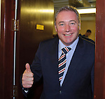 Ally McCoist at the away dressing room door after giving his team talk for the first ever SFL Division 3 match for Rangers. 90 minutes later the smile has gone and  the team are fortunate to head back down the A90 with a 2-2 draw. Welcome to a brave new world.