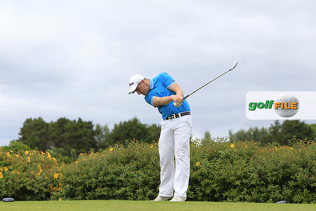 Michael Shiel (Athenry) on the 18th tee during R1 of the 2016 Connacht U18 Boys Open, played at Galway Golf Club, Galway, Galway, Ireland. 05/07/2016. <br /> Picture: Thos Caffrey | Golffile<br /> <br /> All photos usage must carry mandatory copyright credit   (&copy; Golffile | Thos Caffrey)