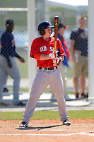 Boston Red Sox infielder Bryan Johns #3 during a minor league Spring Training game against the Minnesota Twins at JetBlue Park Training Complex on March 27, 2013 in Fort Myers, Florida.  (Mike Janes/Four Seam Images)