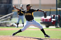 Pittsburgh Pirates pitcher Yhonathan Barrios (46) during a minor league spring training intrasquad game on March 30, 2014 at Pirate City in Bradenton, Florida.  (Mike Janes/Four Seam Images)