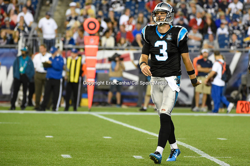 August 22, 2014 - Foxborough, Massachusetts, U.S.- Carolina Panthers quarterback Derek Anderson (3) takes the field during the NFL game between the New England Patriots and the Carolina Panthers held at Gillette Stadium in Foxborough Massachusetts.  Eric Canha/CSM