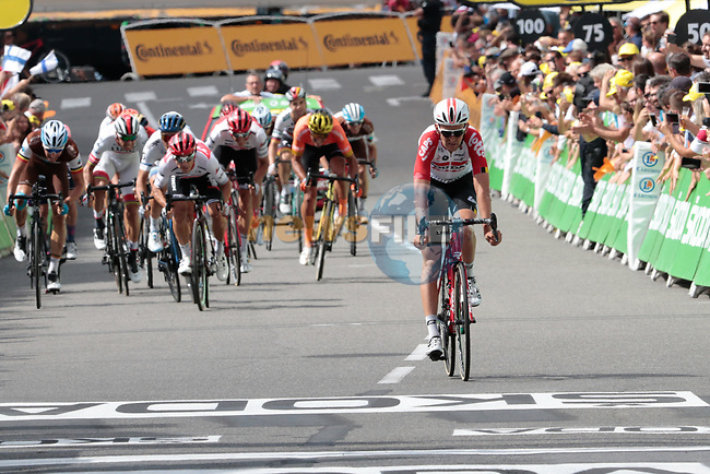 Tiesj Benoot (BEL) Lotto Soudal crosses the finish line in 4th place just ahead of the chasing pack at the end of Stage 12 of the 2019 Tour de France running 209.5km from Toulouse to Bagneres-de-Bigorre, France. 18th July 2019.<br /> Picture: ASO/Colin Flockton | Cyclefile<br /> All photos usage must carry mandatory copyright credit (© Cyclefile | Colin Flockton)