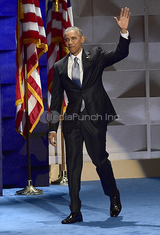 United States President Barack Obama arrives to make remarks during the third session of the 2016 Democratic National Convention at the Wells Fargo Center in Philadelphia, Pennsylvania on Wednesday, July 27, 2016.<br /> Credit: Ron Sachs / CNP/MediaPunch<br /> (RESTRICTION: NO New York or New Jersey Newspapers or newspapers within a 75 mile radius of New York City)