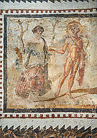 Picture of a Roman mosaics design depicting scenes from mythology, from the ancient Roman city of Thysdrus. End of 2nd century AD, House in Jiliani Guirat area. El Djem Archaeological Museum, El Djem, Tunisia.<br /> <br /> This Roman mosaic depicts Aurore enticing Cephane, Apollo enticing Cyrene and Apollo persuing Daphne