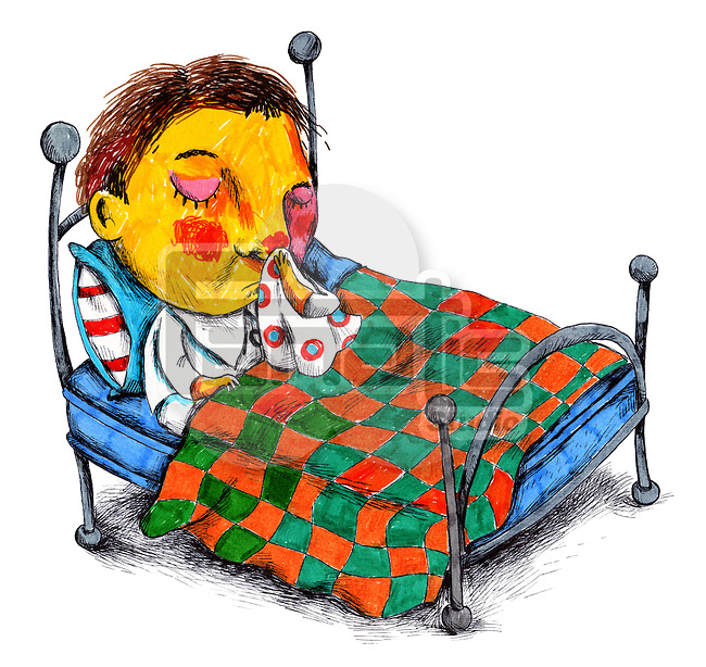 Illustration of boy wiping his nose in bed
