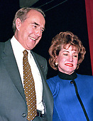 United States Senate Majority Leader Bob Dole (Republican of Kansas), a candidate for the Republican Party nomination for President of the United States, and his wife, Elizabeth after he spoke at a rally in Nashua, New Hampshire on February 17, 1996.<br />