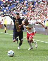 Nick Zimmerman #23 of the Philadelphia Union grabs hold of Jeremy Hall #17 of the New York RedBulls during a MLS  match on April 24 2010, at RedBull Arena, in Harrison, New Jersey. RedBulls won 2-1.