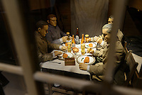 Model of German prisoners of war imprisoned in the Bando camp during WW1, The German House, Naruto, Tokushima Prefecture, Japan, July 9, 2014. The city of Naruto in Tokushima Japan is famous for whirlpools that form in the Naruto Strait. It is home to Otani pottery and the first two temples on the Shikoku 88 temple pilgrimage.