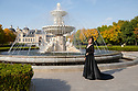 """China - Ningxia - A Chinese bride gets her picture taken in front of Chateau Changyu Moser XV, one of the most impressive wineries of Ningxia. It was inaugurated on the 18 of August 2013, after three years of construction at a cost of 70 million euros. The chateau is a joint venture between Changyu, China's oldest winery, and Lenz Maria Moser, the fifteenth generation direct descendant from the renowned Moser wine family in Austria.<br /><br />Contrary to other wineries in Ningxia, Chateau Changyu Moser XV has decided to primarily focus on the overseas market. """"In order to be successful on the home front China has to benchmark itself internationally, otherwise it will never get to a world standard"""", explains chief winemaker Lenz Maria Moser."""