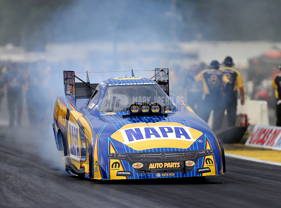 Aug 18, 2017; Brainerd, MN, USA; NHRA funny car driver Ron Capps during qualifying for the Lucas Oil Nationals at Brainerd International Raceway. Mandatory Credit: Mark J. Rebilas-USA TODAY Sports