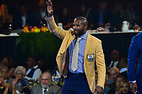 Canton, Ohio - August 2, 2019:  Champ Bailey receives his Hall of Fame Gold Jacket from Jack Reale at the Canton Civic Center in Canton, Ohio August 2, 2019.  (Photo by Don Baxter/Media Images International)