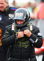 Jun 19, 2015; Bristol, TN, USA; NHRA top fuel driver Chris Karamesines during qualifying for the Thunder Valley Nationals at Bristol Dragway. Mandatory Credit: Mark J. Rebilas-