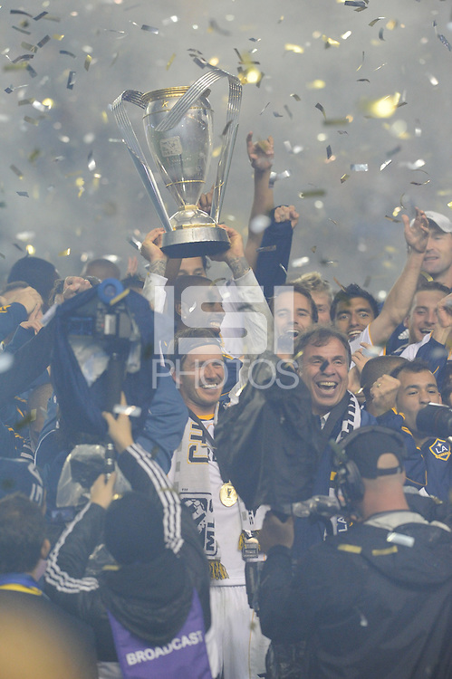 Los Angeles Galaxy's David Beckham and teammates after beating the Houston Dynamo 1-0 in the MLS Cup at the Home Depot Center. Los Angeles Galaxy 1-0 over the Dynamo USA, Sunday, Nov. 20. 20011, in Carson, California. Photo by Matt A. Brown/isiphotos.com